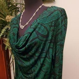 Michael Kors Green/Black Paisley Dress - Size M